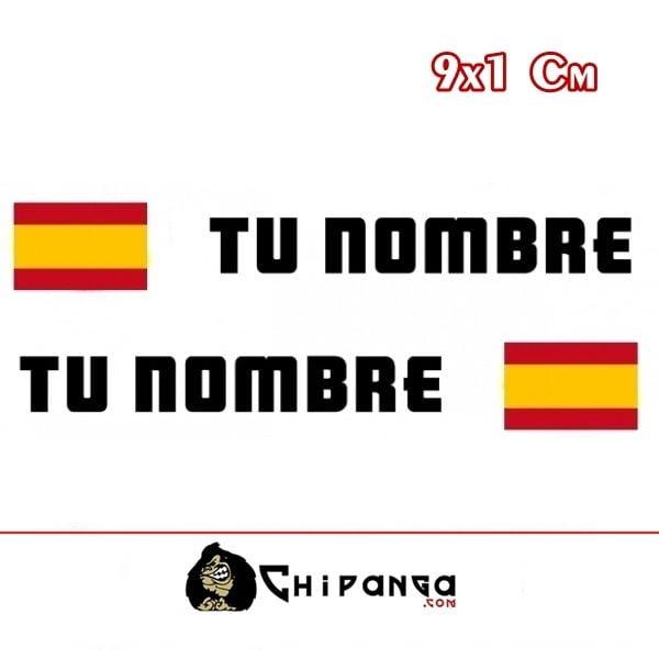 Pegatina nombre con bandera España Rectangular