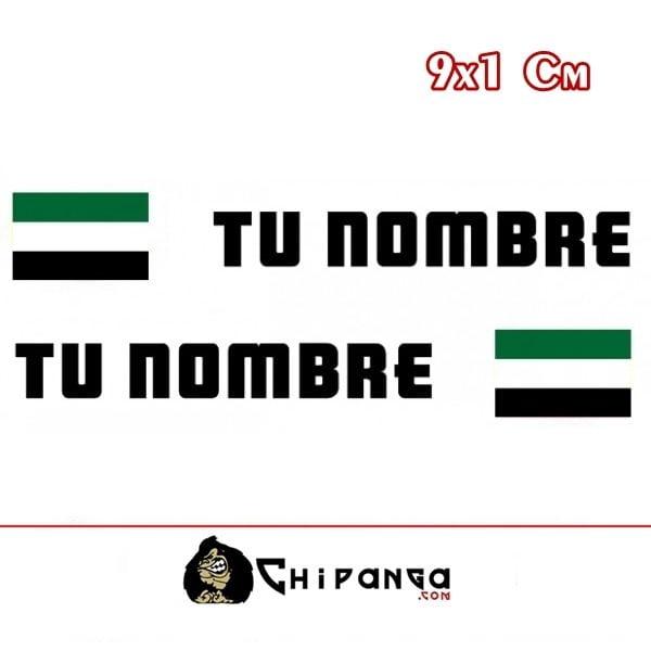 Pegatinas Nombre con Bandera Extremadura rectangular