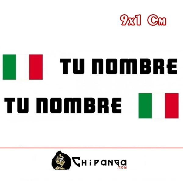 Pegatinas Nombre con Bandera Italia Rectangular