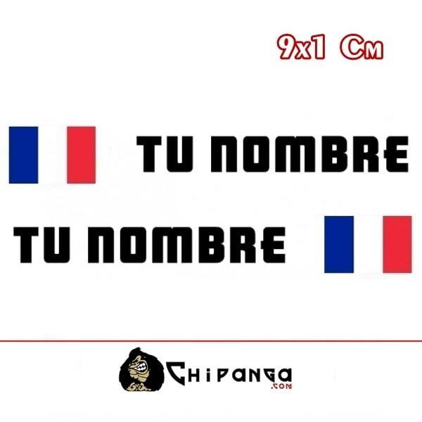 Pegatinas Nombre con Bandera Francia Rectangular