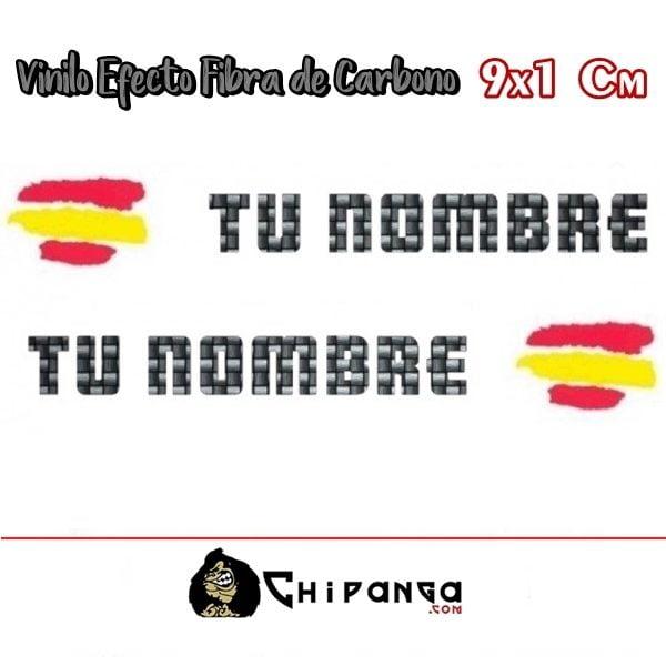 Pegatinas Nombre con Bandera España Carbono