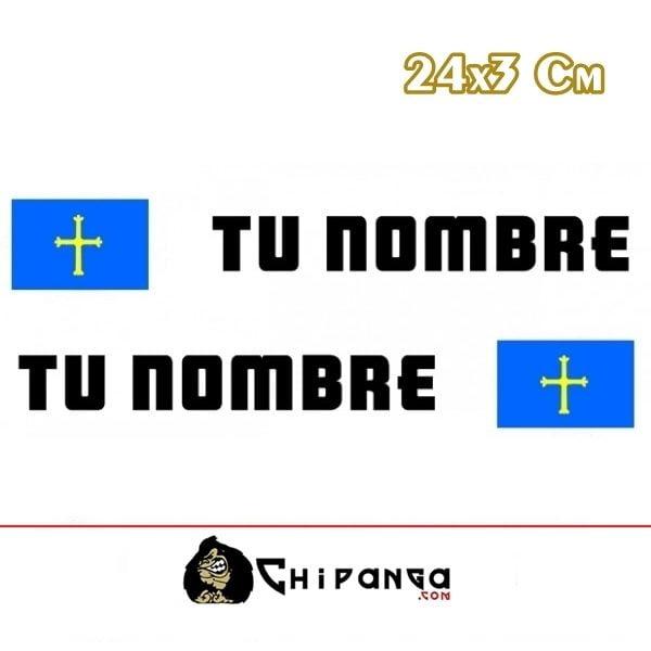 Pegatina nombre con bandera asturias
