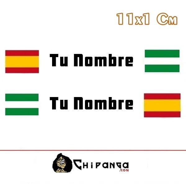 Pegatina nombre con bandera españa y andalucia r