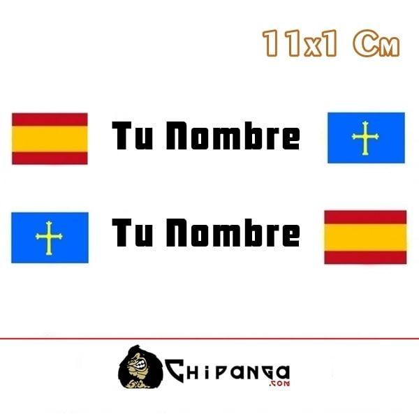 Pegatina nombre con bandera españa y asturias