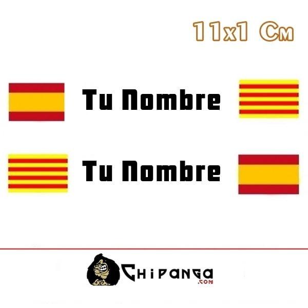 Pegatina nombre con bandera españa y cataluña