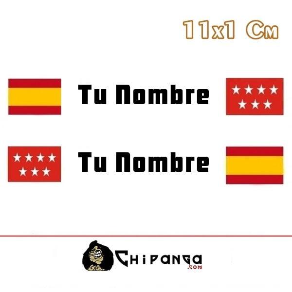 pegatina nombre con bandera españa y madrid
