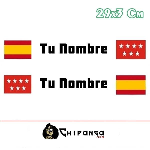Pegatina Nombre Bandera Rally España y madrid
