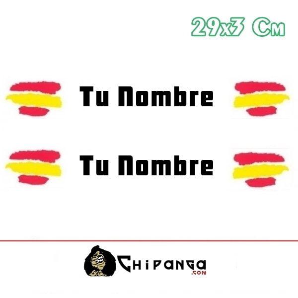 Pegatina Nombre Bandera Rally España trazos