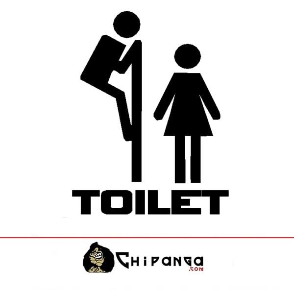 Vinilo Decorativo Puerta Toilet Asomandose Divertido Pegatina Servicios