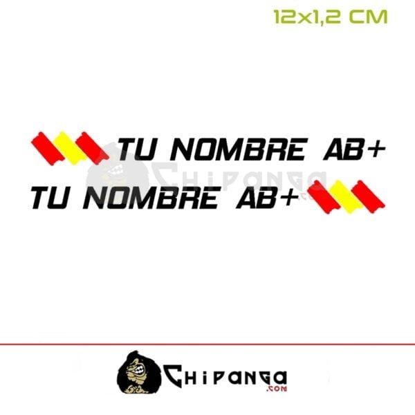 Pegatina nombre con bandera de españa grupo sanguineo