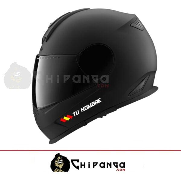 Pegatina nombre con bandera españa para casco
