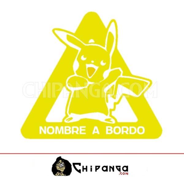 Pegatina a bordo nombre personalizado Pikachu Pokemon