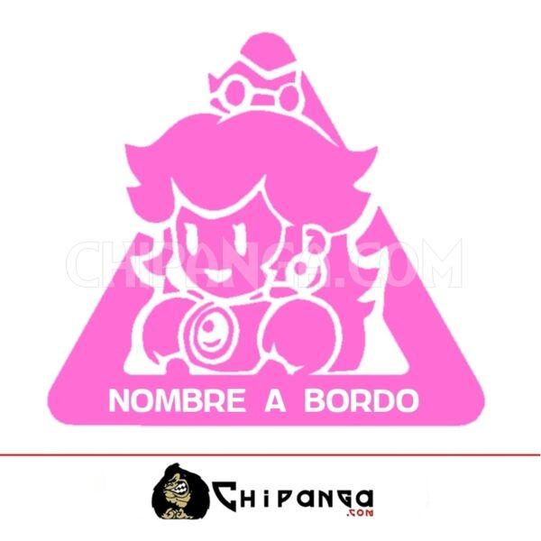 Pegatina a bordo personalizada Princesa Peach Super Mario Bros