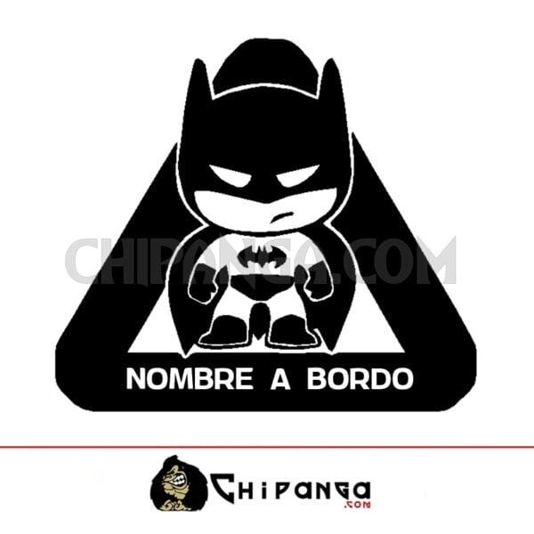 Pegatina a bordo nombre personalizado Batman bebe