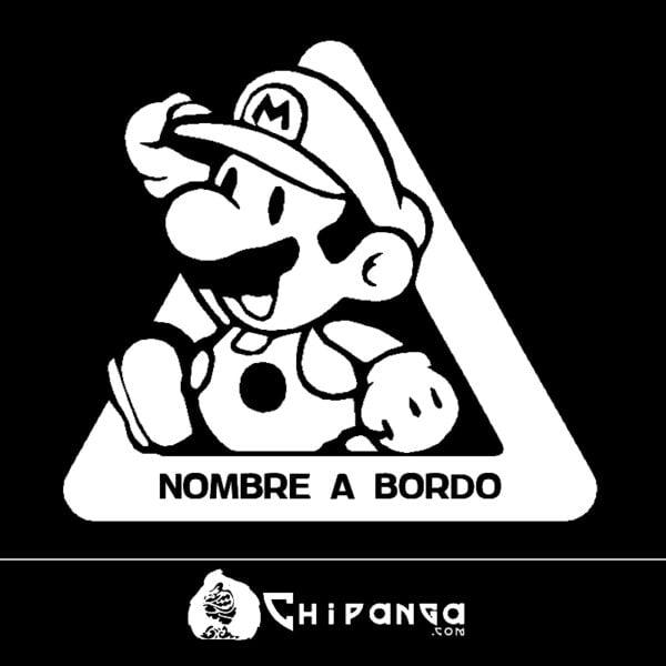 Pegatina a bordo personalizada Mario Bros n