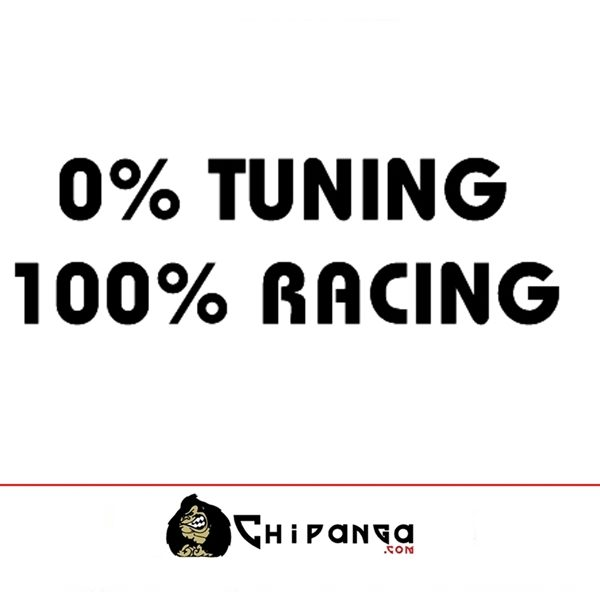Pegatina para coche frase 0% Tunning 100% Racing