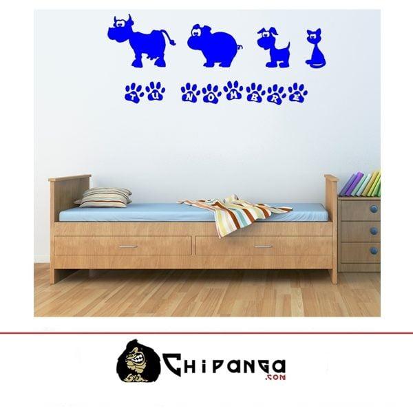 Vinilo Decorativo Infantil Animalitos personalizado con nombre niño niña