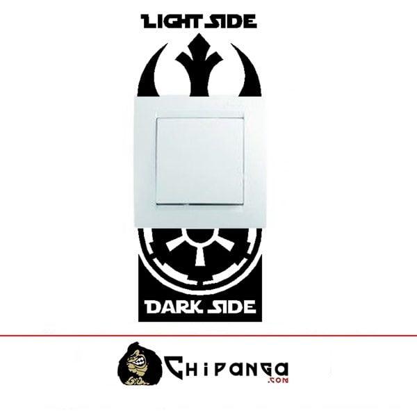 Vinilo Decorativo Interruptor Luz Star Wars Lado Oscuro y Luminoso