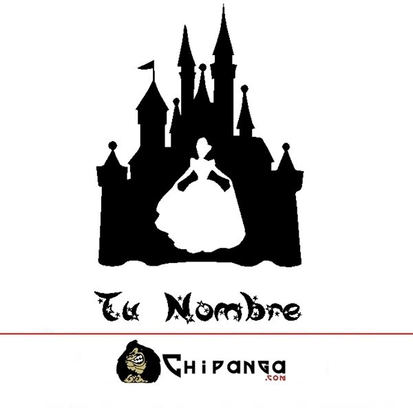Vinilo Decorativo Infantil Castillo Disney Cenicienta con nombre personalizado