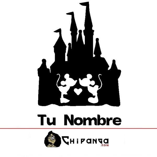 Vinilo Decorativo Infantil Castillo Disney Mickey Minie Mouse nombre personalizado